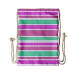 Pink Green Stripes Drawstring Bag (Small)