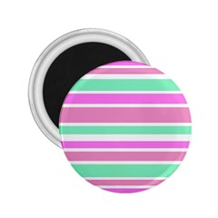 Pink Green Stripes 2 25  Magnets by BrightVibesDesign