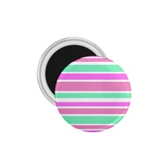 Pink Green Stripes 1 75  Magnets by BrightVibesDesign