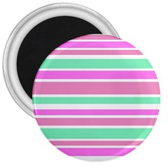 Pink Green Stripes 3  Magnets by BrightVibesDesign