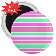 Pink Green Stripes 3  Magnets (100 Pack) by BrightVibesDesign