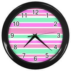 Pink Green Stripes Wall Clocks (black) by BrightVibesDesign