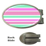 Pink Green Stripes Money Clips (Oval)