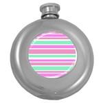 Pink Green Stripes Round Hip Flask (5 oz)