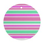 Pink Green Stripes Round Ornament (Two Sides)