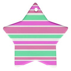 Pink Green Stripes Star Ornament (two Sides)  by BrightVibesDesign