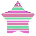 Pink Green Stripes Star Ornament (Two Sides)