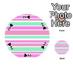Pink Green Stripes Playing Cards 54 (Round)