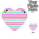 Pink Green Stripes Playing Cards 54 (Heart)