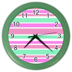 Pink Green Stripes Color Wall Clocks by BrightVibesDesign