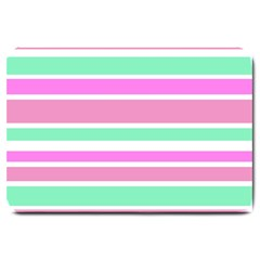 Pink Green Stripes Large Doormat  by BrightVibesDesign