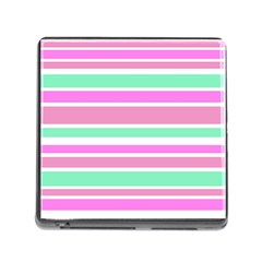 Pink Green Stripes Memory Card Reader (square) by BrightVibesDesign