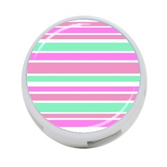 Pink Green Stripes 4 Port Usb Hub (one Side) by BrightVibesDesign
