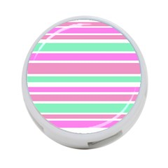 Pink Green Stripes 4 Port Usb Hub (two Sides)  by BrightVibesDesign