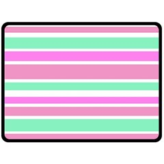 Pink Green Stripes Fleece Blanket (large)  by BrightVibesDesign