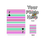Pink Green Stripes Playing Cards 54 (Mini)