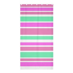 Pink Green Stripes Shower Curtain 36  X 72  (stall)  by BrightVibesDesign