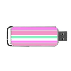 Pink Green Stripes Portable USB Flash (One Side) by BrightVibesDesign
