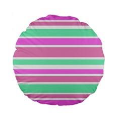Pink Green Stripes Standard 15  Premium Round Cushions by BrightVibesDesign