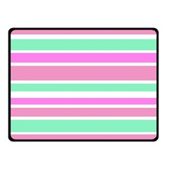 Pink Green Stripes Double Sided Fleece Blanket (small)  by BrightVibesDesign