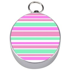 Pink Green Stripes Silver Compasses by BrightVibesDesign