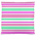 Pink Green Stripes Large Flano Cushion Case (One Side)