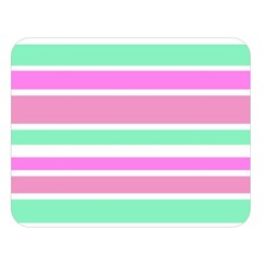 Pink Green Stripes Double Sided Flano Blanket (large)  by BrightVibesDesign