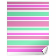Pink Green Stripes Canvas 12  X 16   by BrightVibesDesign