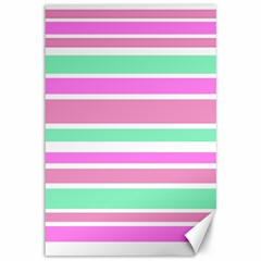 Pink Green Stripes Canvas 12  X 18   by BrightVibesDesign