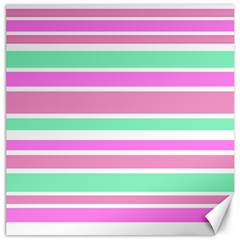 Pink Green Stripes Canvas 16  X 16   by BrightVibesDesign