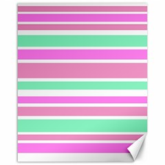 Pink Green Stripes Canvas 16  X 20   by BrightVibesDesign