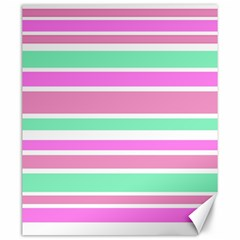 Pink Green Stripes Canvas 20  X 24   by BrightVibesDesign