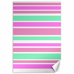 Pink Green Stripes Canvas 24  X 36  by BrightVibesDesign
