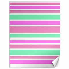 Pink Green Stripes Canvas 36  X 48   by BrightVibesDesign