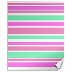 Pink Green Stripes Canvas 11  X 14   by BrightVibesDesign