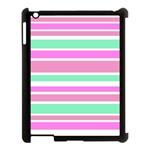 Pink Green Stripes Apple iPad 3/4 Case (Black)