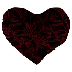 Sharp Tribal Pattern Large 19  Premium Flano Heart Shape Cushions by dflcprints