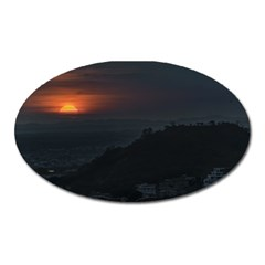 Sunset Scene Landscape Aerial View In Guayaquil From Cerro Del Carmen Oval Magnet by dflcprints