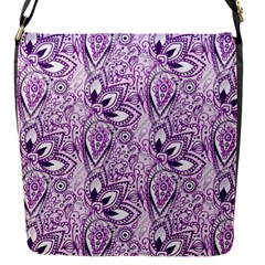 Purple Paisley Doodle Flap Messenger Bag (s) by KirstenStar