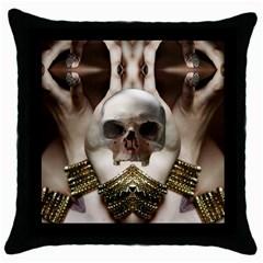 Skull Magic Throw Pillow Case (black) by icarusismartdesigns