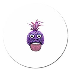 Funny Fruit Face Head Character Magnet 5  (Round) by dflcprints