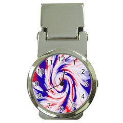 Groovy Red White Blue Swirl Money Clip Watches by BrightVibesDesign