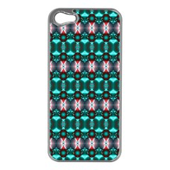 Fancy Teal Red Pattern Apple Iphone 5 Case (silver) by BrightVibesDesign