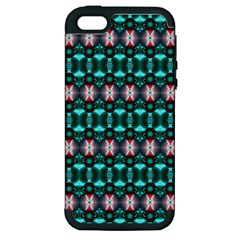 Fancy Teal Red Pattern Apple Iphone 5 Hardshell Case (pc+silicone) by BrightVibesDesign