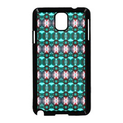 Fancy Teal Red Pattern Samsung Galaxy Note 3 Neo Hardshell Case (Black) by BrightVibesDesign