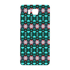 Fancy Teal Red Pattern Samsung Galaxy Alpha Hardshell Back Case by BrightVibesDesign