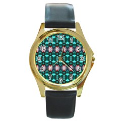 Fancy Teal Red Pattern Round Gold Metal Watch by BrightVibesDesign