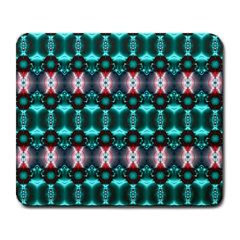 Fancy Teal Red Pattern Large Mousepads by BrightVibesDesign