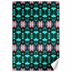 Fancy Teal Red Pattern Canvas 20  x 30   by BrightVibesDesign