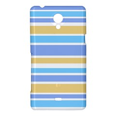 Blue Yellow Stripes Sony Xperia T by BrightVibesDesign
